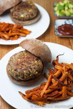Southwestern Black Bean Burgers with Chipotle Sweet Potato Fries