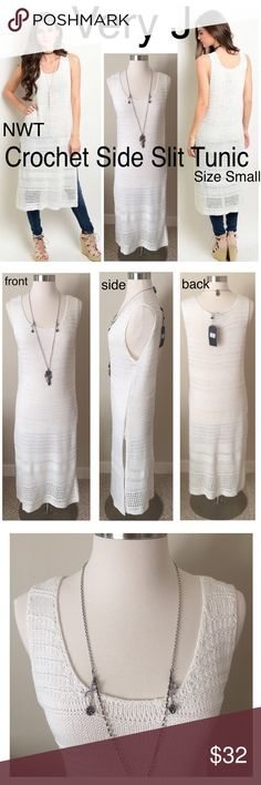 NWT Very J Maxi Side Slit Tunic- size small NWT a beautiful layering tunic by Very J. soft crochet detailing. Size Small: Measurements: Very J Tops Tunics