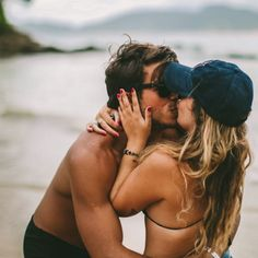 A kiss on the beach.