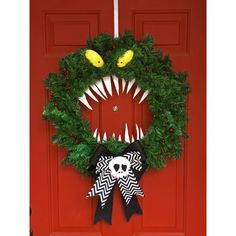 Disney Haunted Mansion Nightmare Before Christmas Holiday Halloween... ($65) ❤ liked on Polyvore featuring home, home decor, holiday decorations, halloween wreath, xmas wreaths, holiday home decor, holiday wreaths and holiday christmas wreaths