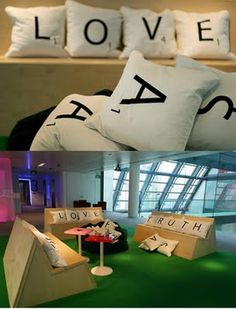 "Scrabble benches.  Love how the extra ""tiles"" are in a black bean bag chair that serves as the scrabble tiles bag!"