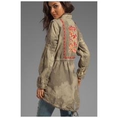 Free people embroidered parka size XS Beautiful free people parka worn only 4 times. I absolutely love this but I do not wear it enough. The hood can roll up and zip into the collar. This jacket has a lining on the back for extra warmth. The embroidery is beautiful and very special. Looking for someone to love this jacket as much as I do!! NO TRADES!!! Free People Jackets & Coats Utility Jackets