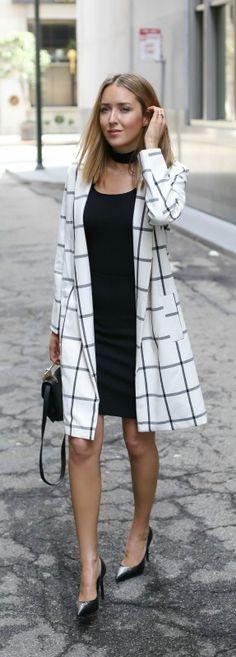 black pencil skirt, black top, windowpane coat, black patent pointed toe pumps, black shoulder bag, choker skinny scarf + straight hairstyle {st. john, boss, bb dakota, saint laurent, m2malletier, halogen}