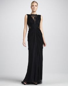 MY DRESS - Let the Party Begin!!  Sleeveless Lace and Sequined Illusion Back Gown by Tadashi Shoji at Neiman Marcus.