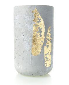 gold concrete vase