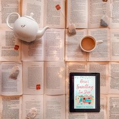 Books and tea Book photography Rosie's Travelling Tea Shop Book and tea flatlay Coffee Shop Aesthetic, Book Aesthetic, Book Instagram, Kindle, Coffee And Books, Reading Challenge, Book Of Life, Book Photography, Book Club Books