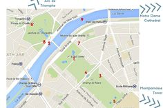 Map Best locations to photograph Eiffel Tower Paris