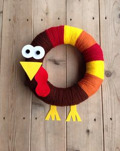Thanksgiving Turkey Yarn Wreath.