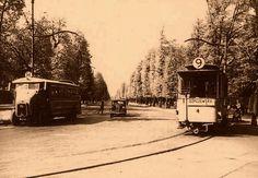 """Aleje Ujazdowskie w roku 1936.  Autobus Somua na linii """"H"""" podjedzie pod Belweder i zawinie w drugą mańkę, na Plac Bankowy.  źródło omni-bus.eu"""