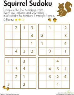 Octopus Sudoku | Worksheets, Octopus and Third Grade