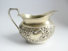 Vintage silver plated creamer, tiny milk jug, little milk pot, small ewer Vintage Gifts, Vintage Outfits, Online Thrift, Nickel Silver, Milk Jug, Vintage Glamour, Vintage Glassware, Vintage Silver, Thrifting