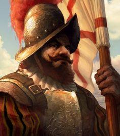 Spanish Conquistador flag-bearer