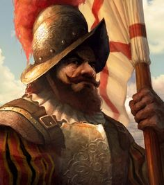 Spanish Conquistador flag-bearer