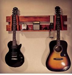 Pallet Shelf with Guitar Hanging