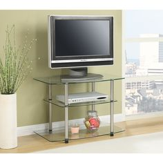 Convenience Concepts Designs2Go Classic Glass TV Stand (Clear)