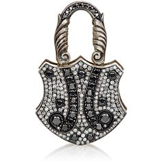 Sevan Biçakçi Women's White & Black Diamond Large Padlock Charm-Colorl ($14,580) ❤ liked on Polyvore featuring jewelry, colorless, sevan bicakci jewelry, hand crafted jewelry, handcrafted jewellery, 24k jewelry and engraved charms