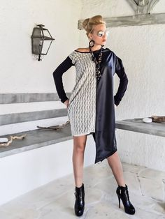 Asymmetric Dress Tunic with Faux Leather details / Asymmetric Plus Size Dress / Oversize Loose Dress / #35209