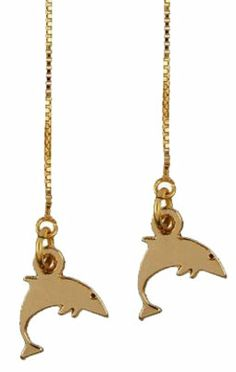 Chain Earring With Dolphin Charm