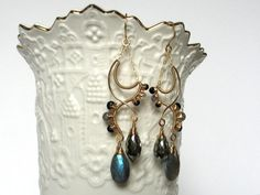 Luxury Gemstone Jewelry; Handmade Wire Wrapped Earrings; Briolette Earrings; Labradorite Jewelry; Adorno by Holly; 14k Gold Jewelry; Modern
