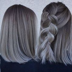 How to Wear Trendy Gray Hair Straight Length Gray Hair Ash Gray Hair Color, Black Hair Ombre, Ombre Hair Color, Cool Hair Color, Hair Colour, Black Grey Ombre Hair, Ash Ombre Hair, Grey Brown Hair, Grey Bob