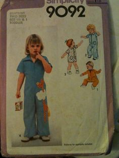 #Simplicity9092. Toddlers' Jumpsuit in Two Lengths, size 1/2 & 1. Copyright 1979.