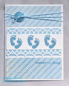 Baby Cards Sweet Feet by – Cards and Paper Crafts at Splitcoaststampers Baby Scrapbook, Scrapbook Cards, Karten Diy, New Baby Cards, Greeting Cards Handmade, Baby Shower Cards Handmade, Kids Cards, Creative Cards, Homemade Cards
