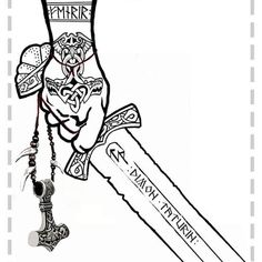 Немає опису світлини. Viking Sword Tattoo, Norse Tattoo, Celtic Tattoos, Viking Tattoos, Viking Art, Viking Runes, Tattoo Sleeve Designs, Sleeve Tattoos, Nordic Symbols