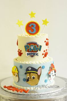 Cake 5 Year Old Boy, 3 Year Old Birthday Cake, 2nd Birthday Party Themes, 3rd Birthday Cakes, Paw Patrol Chase Cake, Torta Paw Patrol, Paw Patrol Birthday Cake, Paw Patrol Party, Paw Patrol Christmas
