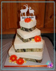 this would be cute if we did every other sheet cake white with orange ribbon and the other camo colored!
