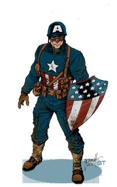 Ultimate WWII Captain America by Tom Grummett and Gerry Turnbull, in Shannon El Guapo Slayton 's Tom Grummett Comic Art Gallery Room Marvel Comic Character, Marvel Characters, Character Art, Character Design, Comic Book Heroes, Comic Books Art, Comic Art, Avengers Art, Marvel Art