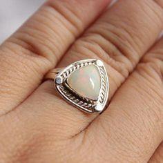 Ethiopian opal ring - Natural Opal Ring - Gemstone ring - Artisan ring $155.00