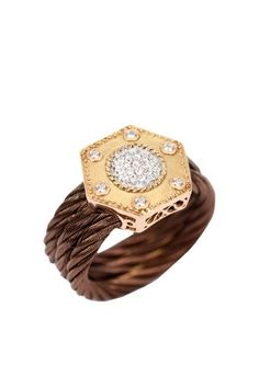 Gold Diamond Nautical Cable Ring.