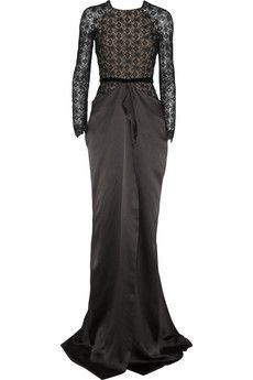 Roland Mouret Kordel lace and hammered-satin gown | NET-A-PORTER