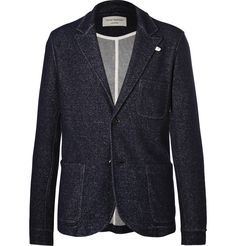 There's no rule that says lounge gear has to look sloppy, and <a href='http://www.mrporter.com/mens/designers/oliver_spencer_loungewear'>Oliver Spencer Loungewear</a>'s blazer will smarten up sweatpants that may have seen better days. It's knitted from a blend of wool and cotton yarns and tailored in an unstructured silhouette with classic notch lapels and practical pockets. Pop it on to receive unexpected guests on lazy Sunda...