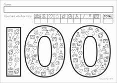 Day of School Worksheets and Activities No Prep by Lavinia Pop First Grade Math Worksheets, School Worksheets, 100 Days Of School, School Holidays, School Stuff, Preschool Math, Kindergarten Teachers, 100s Day, Teachers Corner