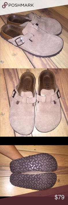 Birkenstocks birkis slip on leather sandals Sz 38 Great condition.    •I bundle & discount bundles •If an item is higher than you want to pay, message an offer or favorite & wait for price to drop weekly.  •My mannequin is Xsm so sometimes items appear loose or I clip back for actual look/fit •Usually ships within 24 hrs and latest 48 hours unless otherwise noted.  •Some of my items are various sizes because I sell for sister as well. #Birkenstocks Birkenstock Shoes Mules & Clogs