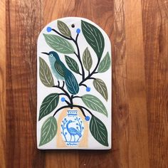 small pasta board - bird on a blue and white vase — Gabrielle Schaffner Ceramics Blue And White Vase, White Vases, Small Pasta, Decorative Tile, Different Patterns, Hand Carved, Carving, Ceramics, Bird