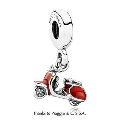 PANDORA scooter charm in red enamel and with a clear cubic zirconia as headlight. $45 #PANDORAcharm
