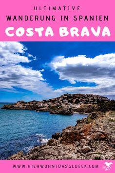 """Wandern an der Costa Brava. Erkunde die nordöstliche Küste Spaniens zu Fuß! Der Weitwanderweg an der spanischen Costa Brava wird als GR 92 bezeichnet. Der 220 km lange Weg startet im kleinen Örtchen Portbou, welches an der spanisch-französischen Grenze liegt, und verläuft bis zur bekannten Partystadt Lloret de Mar. Die Costa Brava (span. """"Wilde Küste"""") zeigt sich dabei von ihrer besten Seite. Wir finden der schönste Weitwanderweg Europas! #hike #spanien #costabrava Costa, Wilde, Water, Camping, Outdoor, Sport, Small Places, Europe Travel Tips, Tours"""