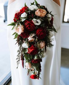 Eco-friendly wedding flowers and weddings - contact us for a consultation. Cascading Bridal Bouquets, Cascade Bouquet, Wedding Flowers, Red Flowers, Red Roses, Australian Flowers, Red Carnation, Red Rose Bouquet, Valentines Flowers