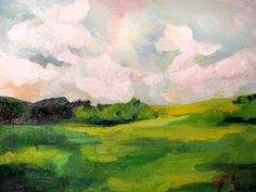 The Grass Looks Greener When the Sky Dances An Original Oil Landscape Painting by Emily Jeffords. $119.00, via Etsy.