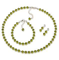 Green Swarovski Jewelry Set. Rich Olive green colored Swarovski Crystal Jewelry set.