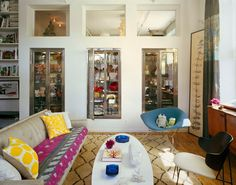 Display Cabinets.  (Carrie Bradshaw Real Life Apartment - Sex and the City Apartment - ELLE DECOR)