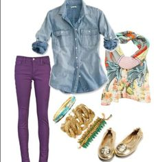 Purple, Gold, Blue Denim, Green Outfit. Minus all that gaudy jewelry, then it's perfect