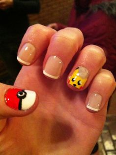 Pokemon Nails with French Tip