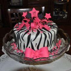 Made This One For My Daughters 17th Birthday Party Zebra Print And Hot Pink By WFSamiam On CakeCentral
