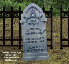 Realistic Gravestone This realistic-looking gravestone is actually modeled after a 150 year old headstone. Our full-size pattern provides all the information youll need to complete this spooky project! (Approx 49 tall x 23 wide) halloween tombstones ideas Halloween Tombstone Sayings, Halloween Tombstones, Halloween Graveyard, Halloween 4, Halloween Projects, Halloween Designs, Winfield Collection, Halloween Witch Decorations, Wood Craft Patterns