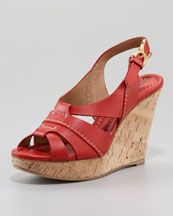 These call for sangria! X145E Chloe Marcie Cork-Wedge Slingback Sandal, Red