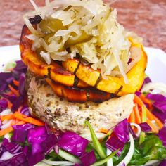 Herbed turkey burger with delicata squash and cultured vegetables