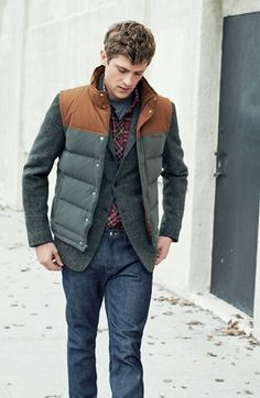 Patagonia Down Vest, Howe Herringbone Sportcoat & Vince Five Pocket Selvedge Denim Jeans Vest Outfits, Casual Outfits, Men Casual, Mens Down Vest, Classy Street Style, Canvas Jacket, Winter Outfits For Work, Gentleman Style, Mens Fashion